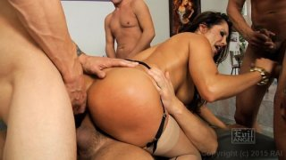 Streaming porn video still #9 from LeWood Gangbang: Battle Of The MILFs